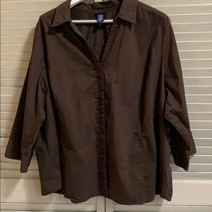 Basic Editions Chocolate Brown Casual Button Down
